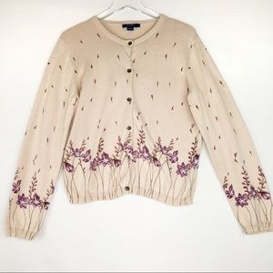 J Crew sweater cardigan floral beige Large purple